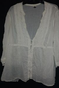 Sonoma Boho White Thin Cotton Blouse Sz 2X